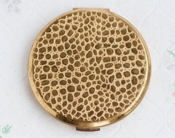 Golden Compact Mirror and Powder Case - Stratton Made in England - Snake Skin Animal Pattern - Vintage Make Up