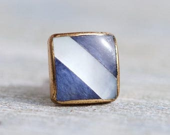 Vintage Tie pin - Blue Mother of Pearl Stripes on Brass - By Sophos