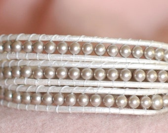 Beaded Metallic Pearl Leather Wrap - Cream Bracelet - Pearl Leather Wrap -  Wrap Bracelet (B343)