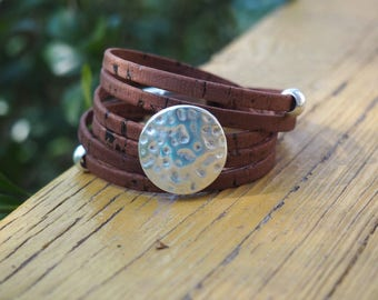 Natural Cork Wrap with silver hammered disc, Whirly Wrap, silver hammered disc, natural brown cork, sustainable, vegan, secure magnet