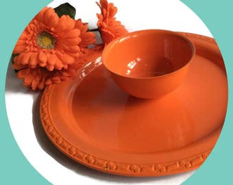 Chip and dip serving plate in bright orange, Vintage Silver Plate Re-surfaced by BMC Vintage Design Studio FOOD SAFE
