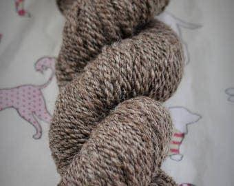 Hand spun, 105gms, natural, undyed, Blue Faced Leicester. DK. Wool, yarn.