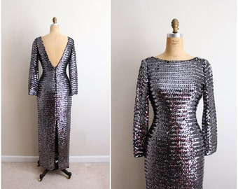 Vintage 70s Silver Sequins Dress / Sequin Maxi Dress / Backless Dress / Prom Dress / Size S/M