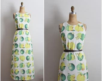 80s Lemons and Limes Maxi dress / Novelty Print / Summer maxi Dress / 1980s Dress / Size S/M