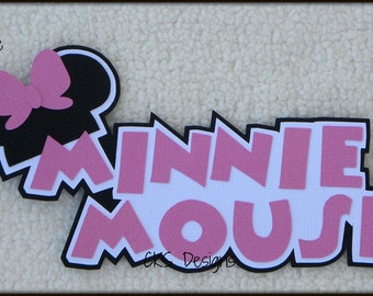 Die Cut Disney Minnie Mouse PINK TITLE Vacation Premade Paper Piecing Embellishment for Card Making Scrapbook or Paper Crafts