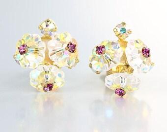 Margarita crystal Earrings, Pale Pink Crystal Flower Earrings aurora borealis, vintage Austrian signed Earrings