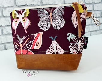 AVA Medium Clutch - Butterfly with PU Leather READY to SHIp Cosmetic bag Travel Make Up Zipper Pouch