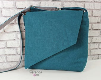 Nori Flap Messenger Slouch Bag with Adjustable Cross Body Bag - Teal Linen  - READY to SHIP iPad Bag