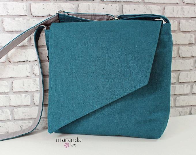 Nori Flap Messenger Slouch Bag with Adjustable Cross Body Bag - Teal Linen  - READY to SHIP iPad Bag