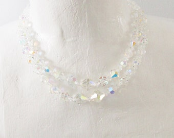 Vintage Multi Strand Crystal Beaded Necklace signed Coro 1950s 1960s