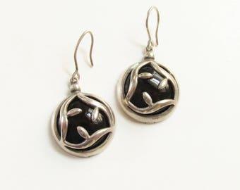 Vintage Sterling Black Agate Dangle Pierced Earrings