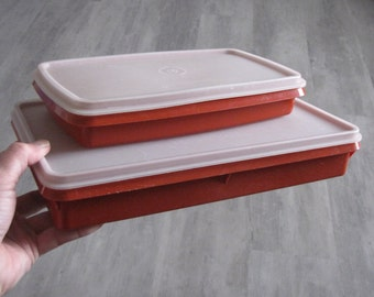 Vintage Tupperware - Red Bottomed Storage Containers - set of two