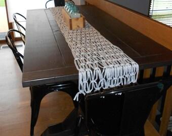 Custom Macrame Table Runner - white and black