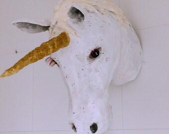 Paper mache unicorn head, faux taxidermy, unicorn wall decor, paper mache sculpture