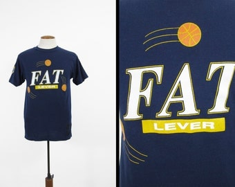 Vintage 80s Fat Lever T-shirt Denver Nuggets Basketball Navy Blue - Medium