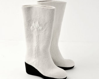 Felted boots from softest merino wool -8US (38 EU) women -white- natural white- ready to ship - rubber soles- OOAK