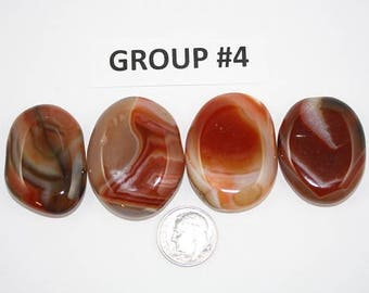 Polished Carnelian Agate Freeform Cabochons Pack of 4 - Group #4