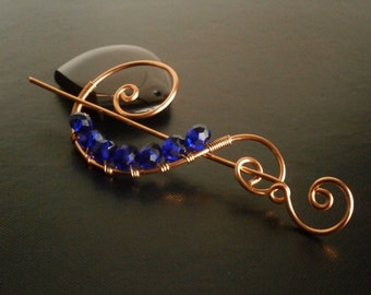 Dark Blue Shawl Pin, Scarf Pin, Sweater Brooch, Hair Pin, Knitting Accessories, Copper Wire pin