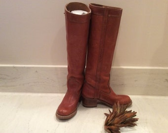 Vintage Dexter Laced Sides Pull On Campus Leather Boots with Leather Soles and Wood Stack Heels, Vintage  Seventies 1970's Women's Boots