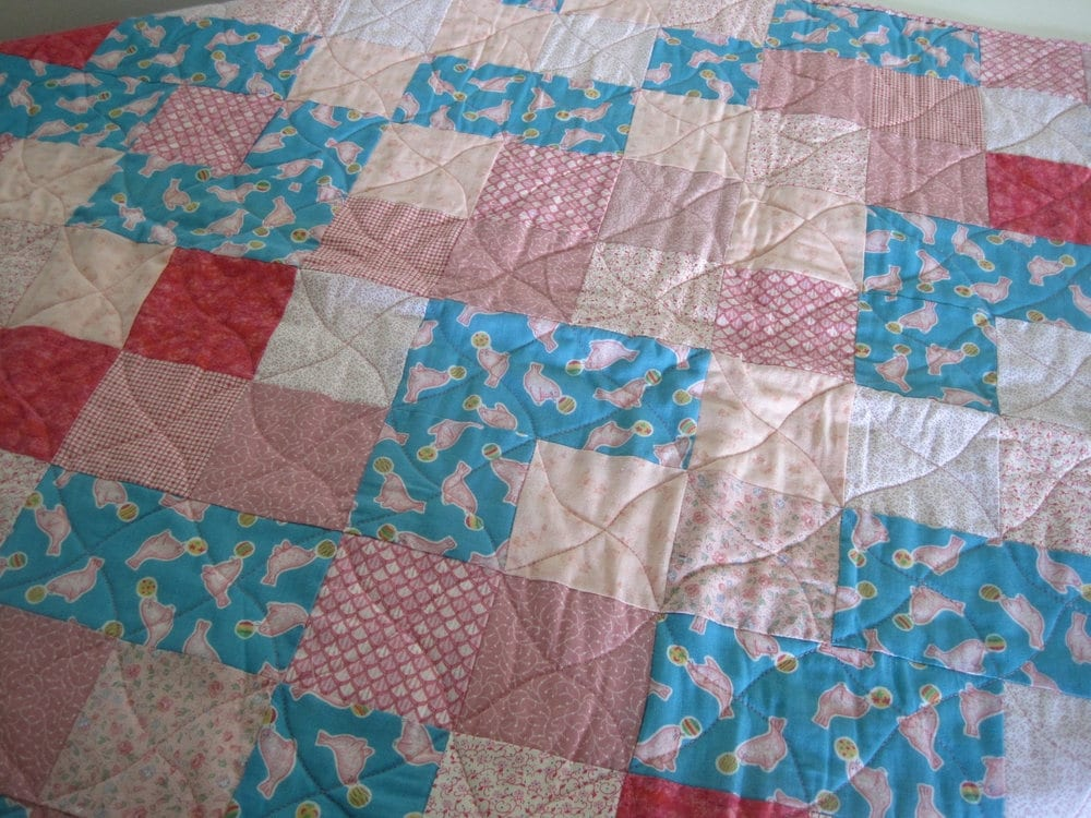Patchwork baby quilt baby shower gift crib quilt baby floor for Floor quilt for babies