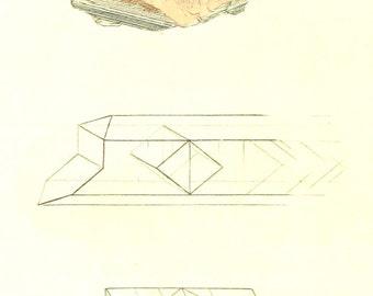 Vintage Mineralogy Illustration Digital Paper: Barytes sulfata