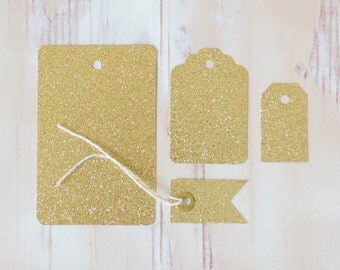 Gold Glitter Gift Tags with Twine - Small Flag 10 pc / Small Classic 10 pc / Medium Scallop 8 pc / Large Standard 6 pc