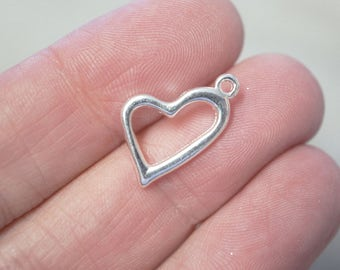 10 Metal Silver Plated Open Heart Charms - 20mm