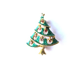 Brooch Rhinestone Enamel Gold Plate Fat Green Christmas Tree