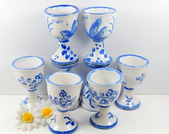Set of Eight Hand Painted Earthenware Pedestal Cordials Cups Blue White Vintage Spain Art Pottery 1980s