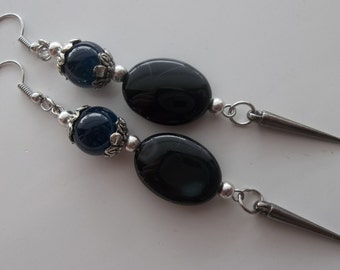 Onyx Ovals and Blue Pearls with Spikes - Long Dangle Drop Earrings  (119)