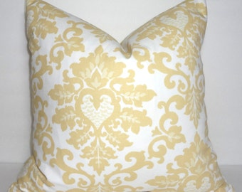 Decorative Pillow Saffron Yellow and White Damask Floral Pillow Covers Cecilia Premier Prints All Sizes