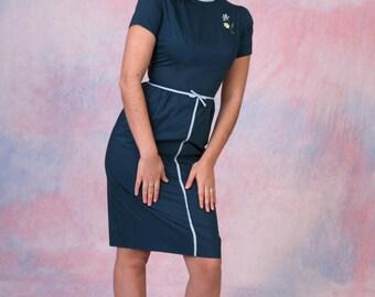 Vintage 1960's Mad Men Style Short Sleeve Pencil Dress Sz XS