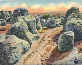 Deming, Silver City, New Mexico, City of Rocks - Linen Postcard - Vintage Postcard - Postcard (VV)