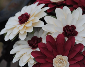 Gerber Daisy Paper Flower Bouquet. Ivory, Red. Or CHOOSE YOUR COLORS. Centerpiece, Wedding, Anniversary, Birthday, Mother's Day, Gift