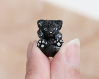 Tiny miniature black kitten - OOAK