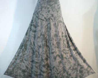 Plus size 2X tie dye semi-flared maxi skirt in bamboo/cotton/spandex knit with soft waistband.