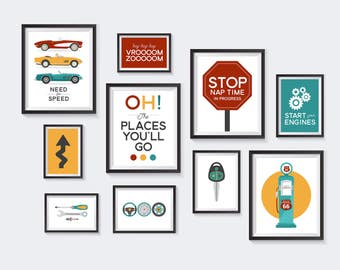 Race Car Printable, Nursery Printables, Drive Gallery Wall, Kids Decor, Driving, Traffic, Automobile, Auto, Street Sign, INSTANT DOWNLOAD
