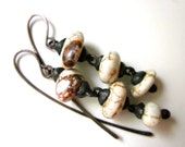 I Give You Nothing - simple dark tribal matte white brown veined howlite stone nuggets and soldered black metal dangle earrings
