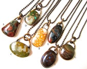 Oh, Sweet Nothing - YOU PICK - unisex simple earthy rustic rainbow stone cabochons & oxidized brass bezel ball chain metalwork necklaces