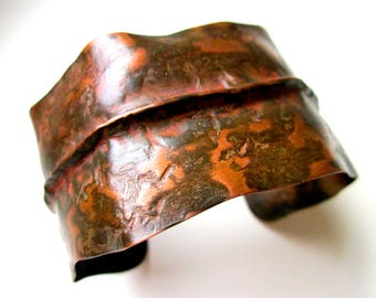 This is a Spiritual Groove - primitive fold formed rusty calico copper cuff, ancient apocalyptic pagan weathered organic oxidized metalwork