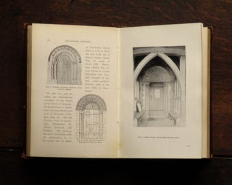 Antique book, Old English Churches, Architecture book, by George Clinch