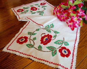 Red Floral Dresser Scarf Vintage Embroidered Table Runner Table Linens