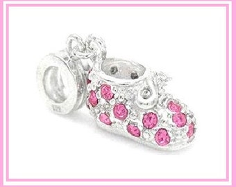 Stamped 925 - Baby BOOTIE - Shoe - New Baby GIRL - Dangle Charm Bead with PiNK Rhinestones - Crystals - fits European Bracelets - MD-2717-C