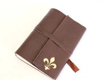 ON SALE Brown Leather Journal Sketchbook with Gilded Fleur de Lys