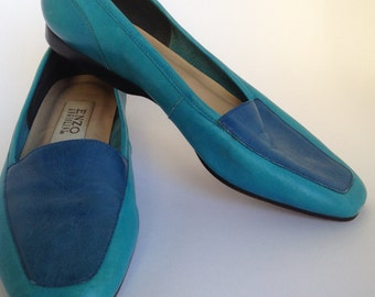 Teal and Blue Leather Flats Size 7 1/2 M Enzo Angiolini Made in Italy