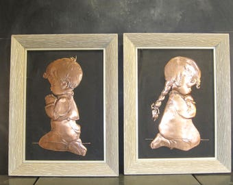 Pair Vintage Framed Embossed Copper Praying Children Pictures