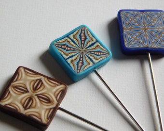 T Pins, decorative polymer clay pin toppers, Quilters Pins