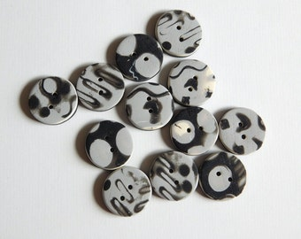 Handmade Polymer Clay Sewing Buttons, set of 12, 5/8 inch buttons