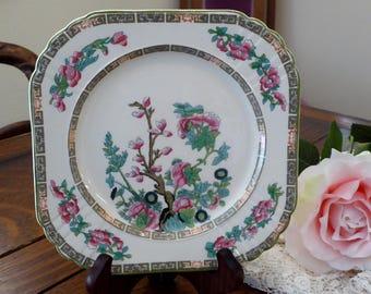 "Vintage Myott Staffordshire ""Indian Tree"" Square 8"" Plate, Myott Indian Tree Square Plate Green Scalloped Pattern"