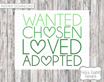 Wanted Chosen Loved Adopted Sign, Adoption Announcement, Adoption Day, Adoption Printable, Adoption Print, Adoption Sign, Adoption art